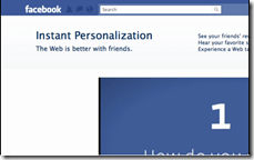 Facebook Instant personalisation - opens in new window