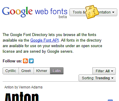 Google Font Library