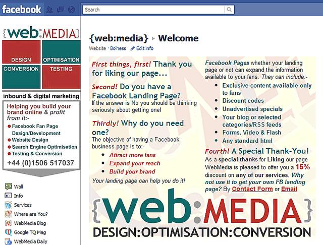 WebMedia Fan Landing Page