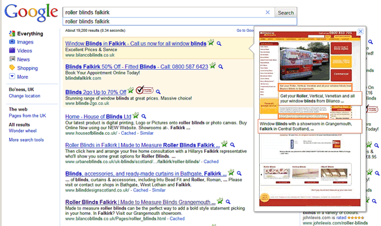 Google PPC instant preview