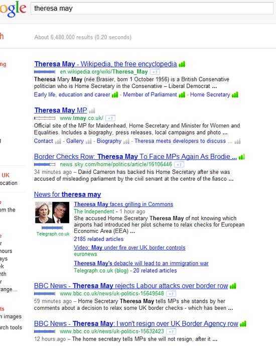 Google search for Theresa May - Border Controls