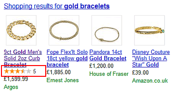 Rich snippet in Google shopping result